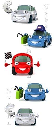 3D Цветные машинки белом фоне / 3D Color cars - Stock photo