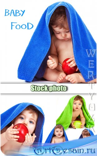 Ребенок с яблоком / Baby with an apple - Raster clipart