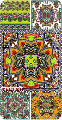 Разноцветные узоры, орнаменты в векторе / Multi-colored patterns, ornaments ...