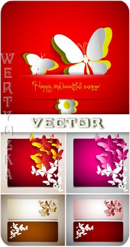 Баннеры с бабочками / Banners with butterflies - vector clipart