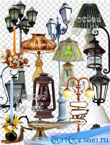 Лампы, бра и фонари на прозрачном фоне