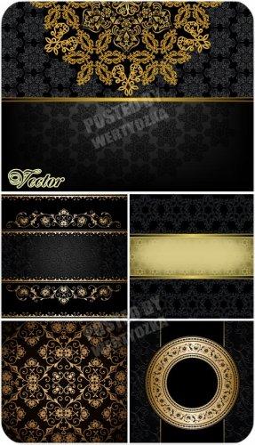 Черные фоны с золотом, узоры, орнаменты / Black background with gold - vect ...