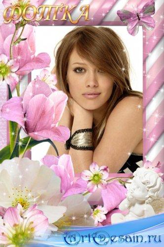 Рамка для фотошоп - Нежность весенних цветов