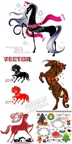 Лошади символ 2014 года /  Horses symbol 2014 - vector clipart