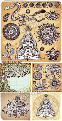 Индийские символы, змея, слоник, черепаха / Indian symbols, snake, elephant ...