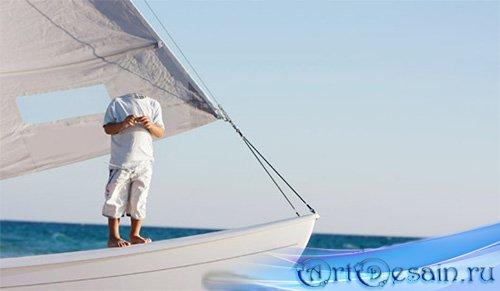 Шаблон для маленьких - На красивой яхте в синее море