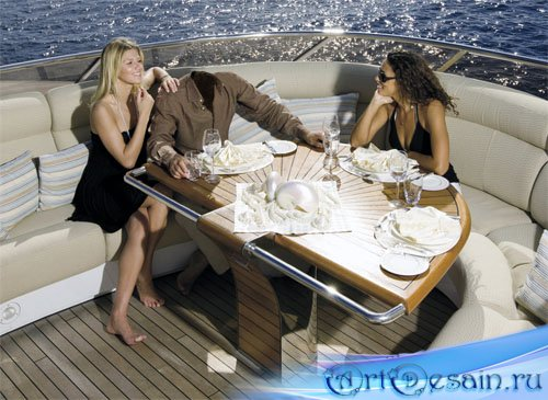 Шаблон psd - Отдых на яхте в море в компании девушек