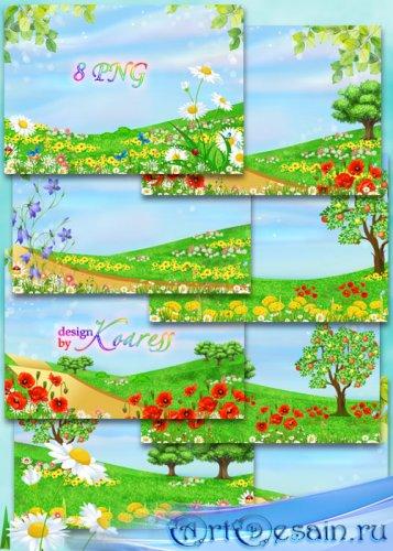 Летние детские фоны с яркими цветами