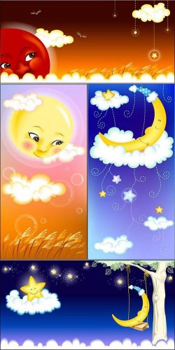PSD-исходники - Солнце и луна