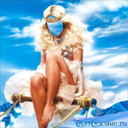 Шаблон для фото - Яркая девушка с короной на облаках