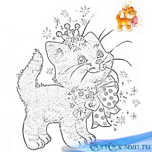 Раскраска psd - Кошечка в короне и с бантиком