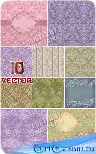 Коллекция векторных фонов с цветочным узором, узоры и орнаменты / Collectio ...