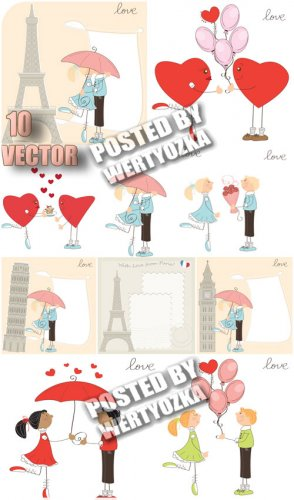 Романтическая пара и эйфелева башня / Romantic couple and the Eiffel Tower  ...