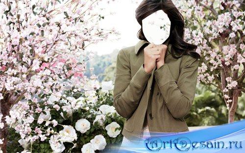 Девушка в весеннем парке - шаблон для фото