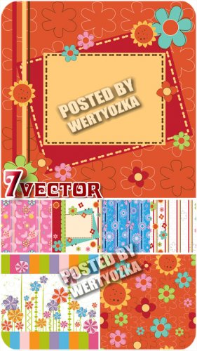 Яркие фоны с разноцветными цветочками, узоры / Bright background - stock ve ...