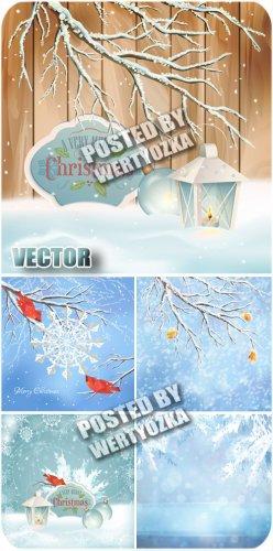 Рождество, зимние пейзажи / Christmas, winter landscapes - stock vector