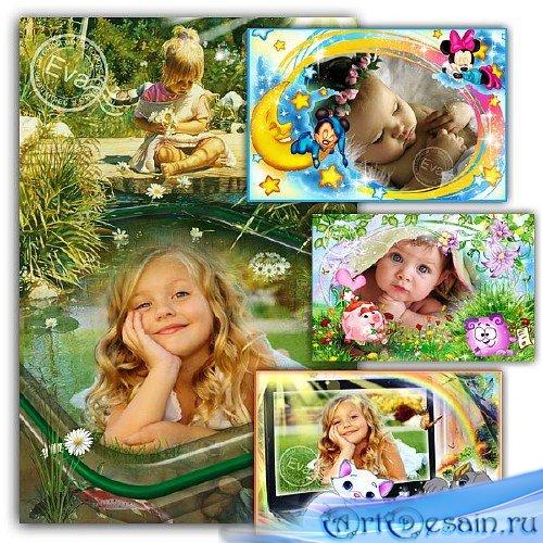 Сборник детских фоторамок - Венок из ромашек