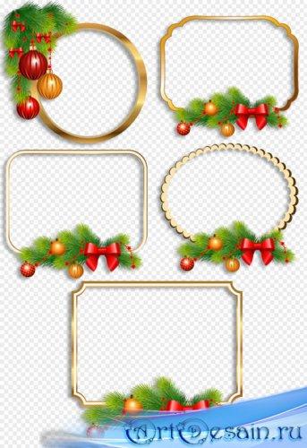 Клипарт - Новогодние рамки вырезы украшенные еловыми веточками и игрушками  ...