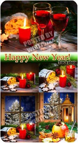 Новогодние фоны с бокалами вина и свечами / Christmas background - stock ph ...