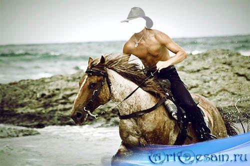 Шаблон для Photoshop - Поездка в брызгах воды на коне