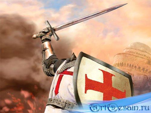 Шаблон для фото - Рыцарь с мечом и щитом в бою