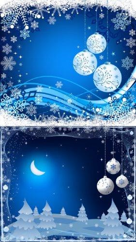 2 Новогодних многослойных исходника в голубом цвете
