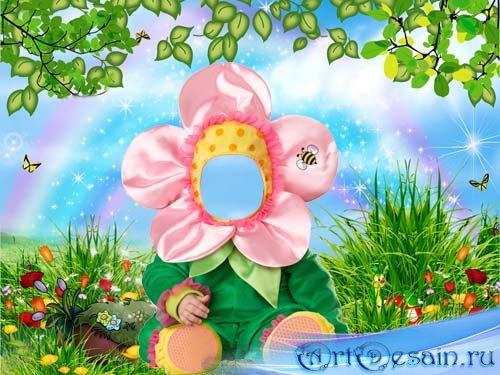 Шаблон для детей - Красивенький цветочек на сказочной поляне