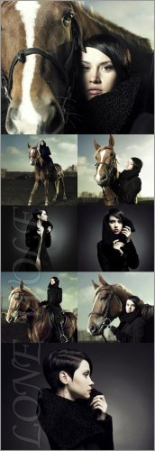 Модная красивая девушка на лошади./ Fashion beautiful girl on a horse