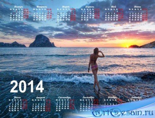 Календарь 2014 - Девушка на пляже на закате