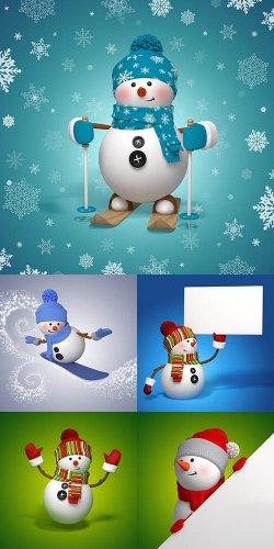 Растровый клипарт - 3D Снеговик