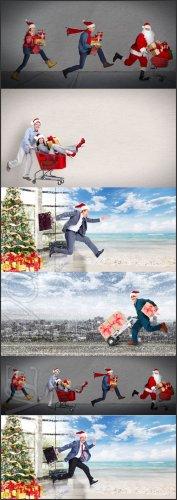 Счастливые люди бегут на Новогодний Праздник/ Happy people are fleeing to t ...