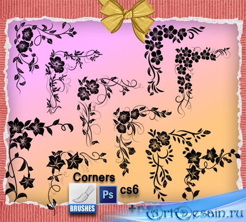 Кисти для фотошопа - Уголки из цветами
