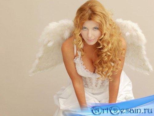 Шаблон для фотомонтажа - Девушка с крыльями ангела в белоснежном платье