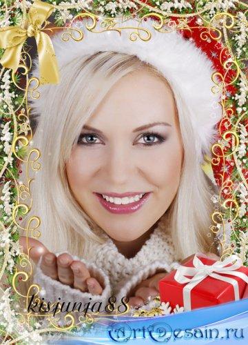 Зимняя рамка для фотошоп - Золотая зима подарки дарит нам