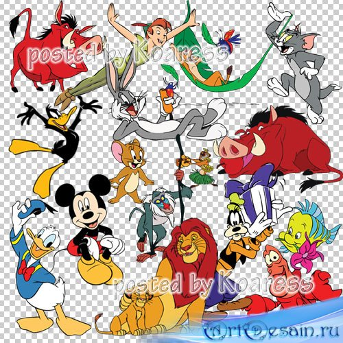 Png клипарт для фотошопа с персонажами мультфильмов Диснея