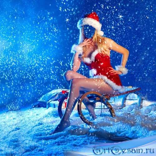 Шаблон женский - В костюме снегурочки на санях под снегом