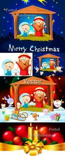 Рождественские фоны в Векторе