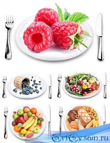 Растровый клипарт - Еда, фрукты, ягоды на тарелке