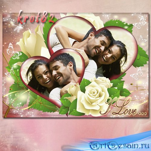Романтическая рамка для фото с сердечками и цветами