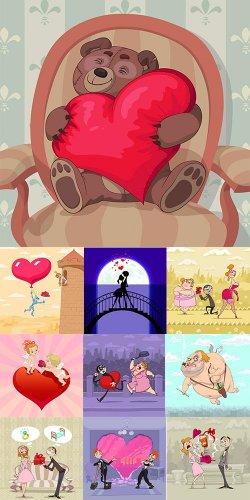 Креативный веселый клипарт ко дню святого Валентина
