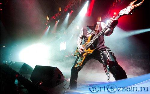 Шаблон psd - Звезда метала на сцене