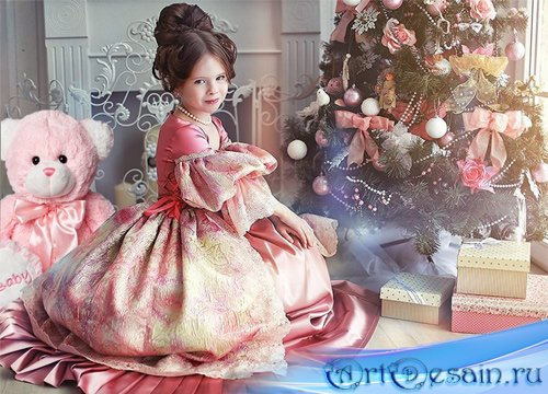 Шаблон  детский - Девочка у ёлки