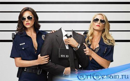 Шаблон psd - Задержание двумя девушками в форме