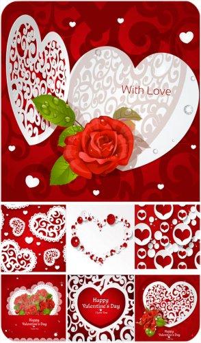 С днем святого валентина, сердечки и красные розы - вектор