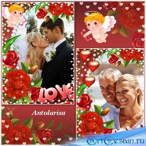 Фоторамка для влюбленных с ангелочком и сердечками
