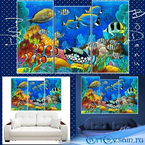 Полиптих, PSD файл для фотошопа -  Риф в океане