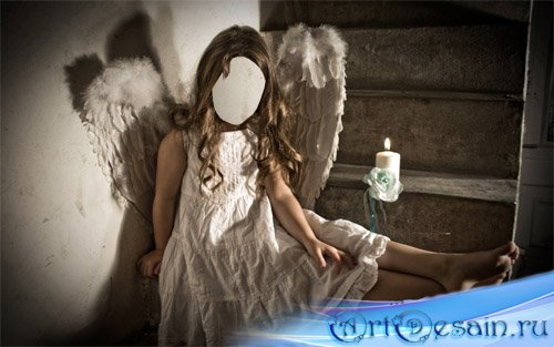 Шаблон детский - Девочка ангел с крыльями
