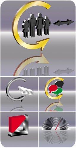 Логотипы на серебристом фоне - вектор