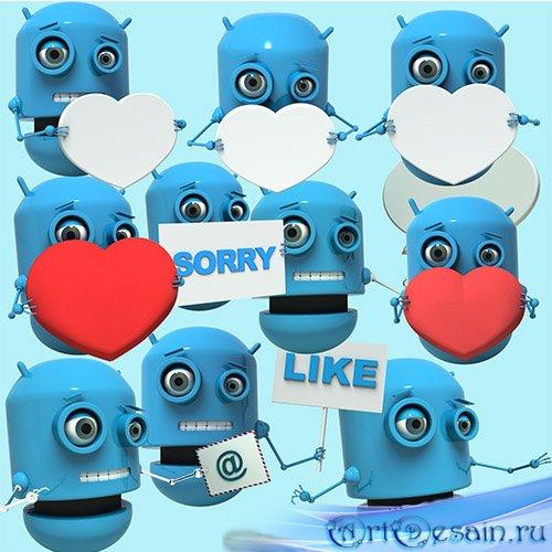 Роботы с сердечком и плакатом