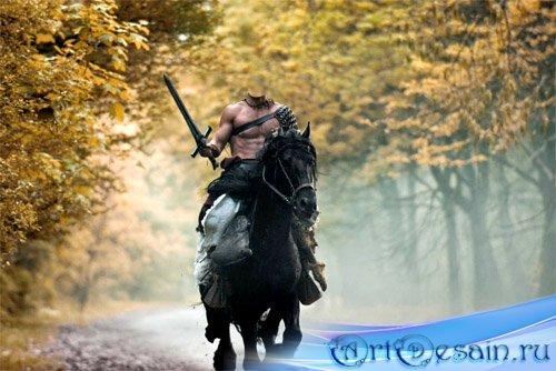 Шаблон для фотомонтажа - Неустрашимый воин с мечом на коне